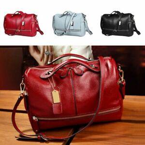 Women-039-s-Leather-Handbag-Pilliow-Shape-Zip-Tote-Crossbody-Messenger-Shoulder-Bag