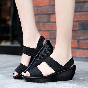fashion women sandals woven shoes pumps platform wedges
