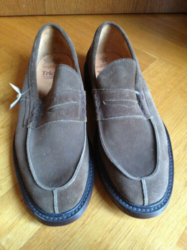 Trickers Beige Velour Cuir Loafers Mocassin us 11.5 eur 45 UK 10.5 afficher le titre d'origine