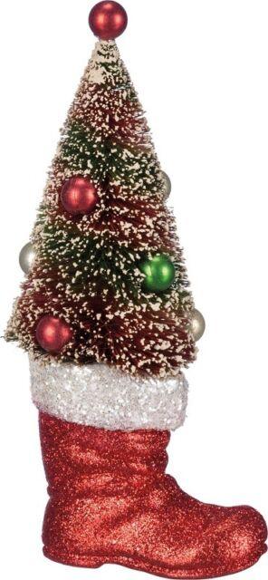 New Vintage Christmas Bottle Brush Tree In Red Santa Boot