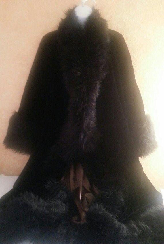 Preciosa  Luxe Gatsby años 20 Estilo Terciopelo De Zorro Reversible Abrigo Abrigo Maxi de ópera  promocionales de incentivo