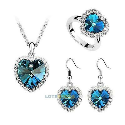 New Titanic Heart of Ocean Crystal Rhinestone Necklace Ring Earrings Set LS4G