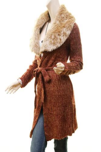 Vintage Faux Fur Knit Open Front Belt Tweed Cardigan Jacket Sweater Coat S M L