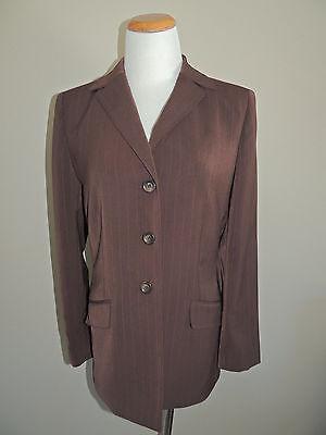 Womens Le Suit Brown Pinstripe Poly Blend 3 Button Blazer Size 8 Suits & Suit Separates Women's Clothing