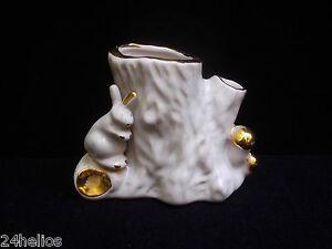 Vase Bouquetière en porcelaine motif au lapin - blanc bordure dorée Ht.9cm TBE
