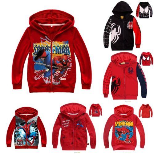 Kids Boys Spiderman Hooded Jacket Zipper Hoodie Coat Clothes Outwear Tops