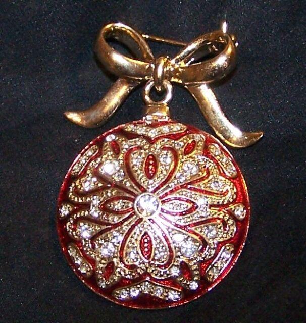 3b66f849cf2 VINTAGE Christmas Ornament Bow Pin Brooch-Dangle-Rhinestone Enamel Signed  Monet