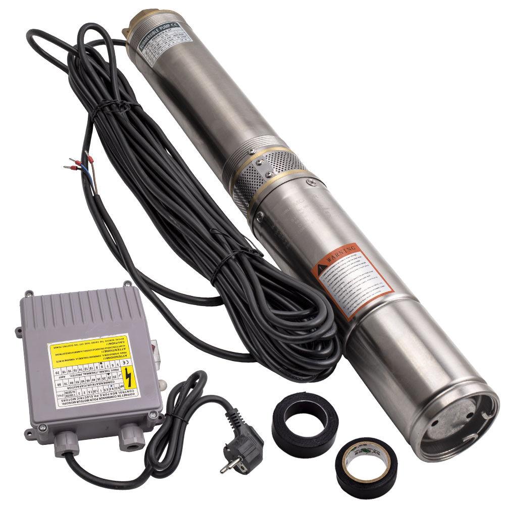 4  370W bomba de agua sumergible de sondeos pozos profundos + 20 m cable de alimentación