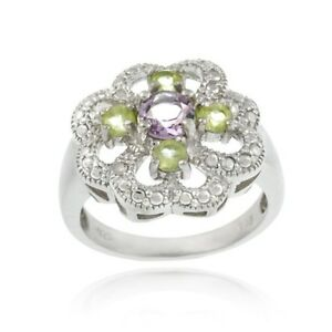 925 silver amethyst peridot and diamond accent flower. Black Bedroom Furniture Sets. Home Design Ideas