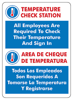 OSHA NOTICE TEMPERATURE CHECK STATIONBilingual Adhesive Vinyl Sticker Sign