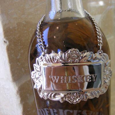 Silver Ornate Vodka Liquor Bottle Decanter Tag Label