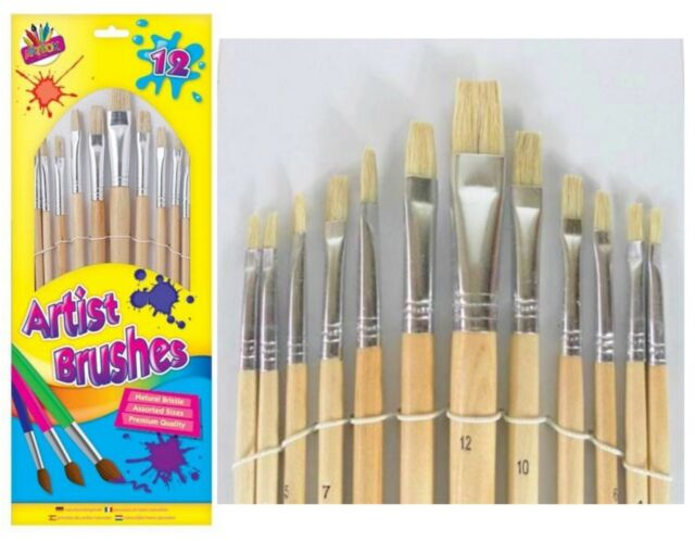 12 Artist Paint Brush Set Small/Large Wooden Acrylic/Oil/Watercolour Thin Thick