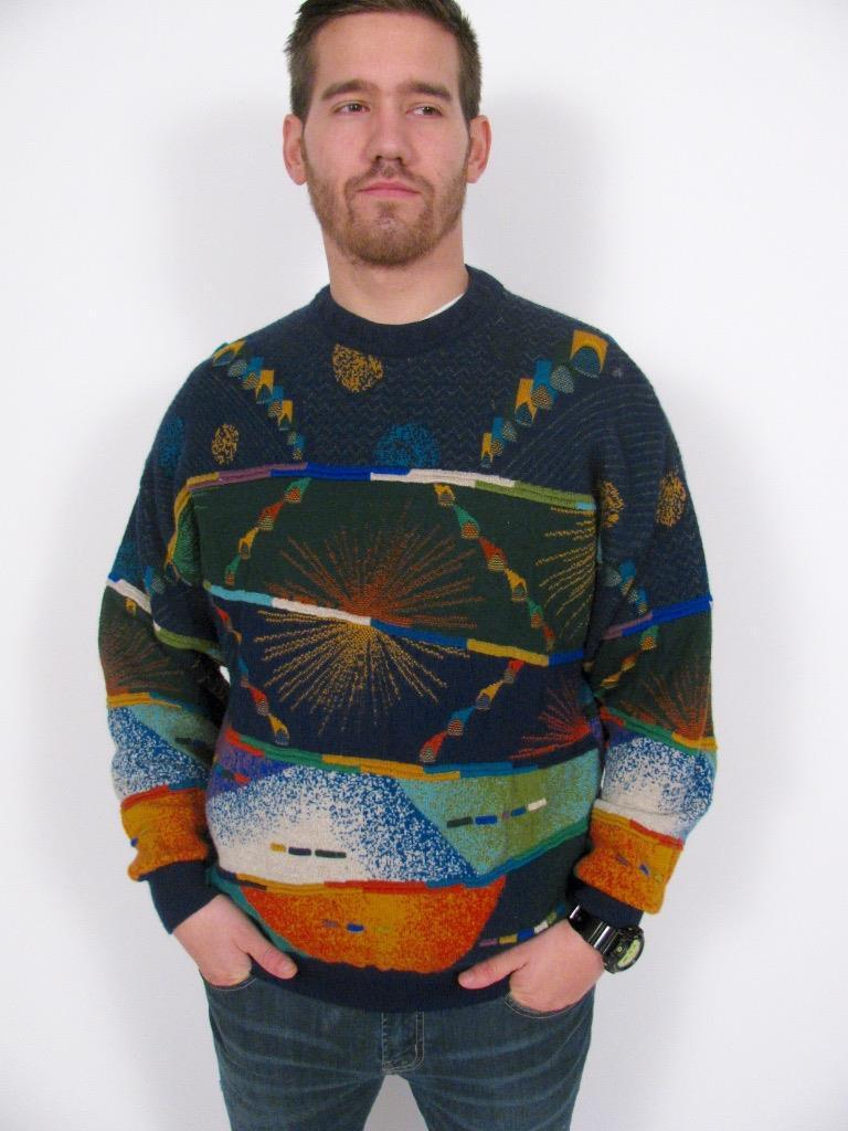 GECCU AUSTRALIA MERINO WOOL 3D ABSTRACT BIGGIE COSBY MANS KNIT SWEATERXL