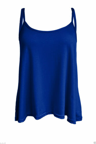 Womens Ladies New Plus Size Cami Plain Strappy Swing Vest Top Flared Sleeveless