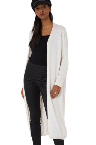 R09 Women/'s Ladies Cream Longline Open Front Knitted Duster Cardigan S