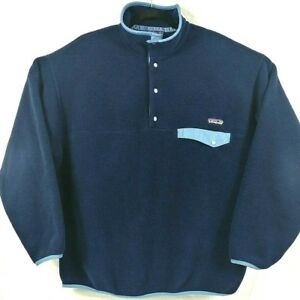 7644b362f2645 VTG Patagonia Synchilla T-Snap Pullover Size XL Mens Blue Fleece ...