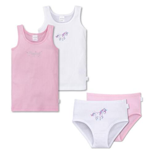 SCHIESSER Mädchen Unterwäsche Set 4 teilig 2x Unterhemd und 2x Slip