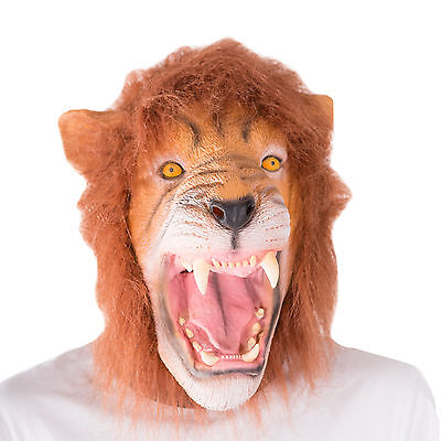 Funny Realistic Animal Lion Latex Face Mask Fancy Dress Costume Halloween Party