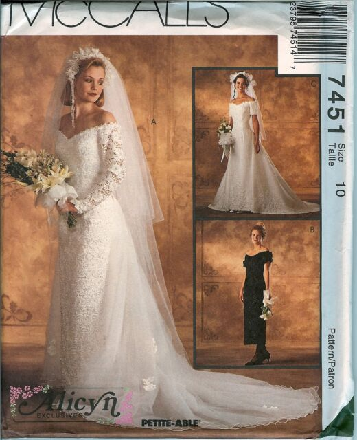 McCalls 7451 Alicyn Bridal Wedding Gown Dress Sewing Pattern Uncut ...