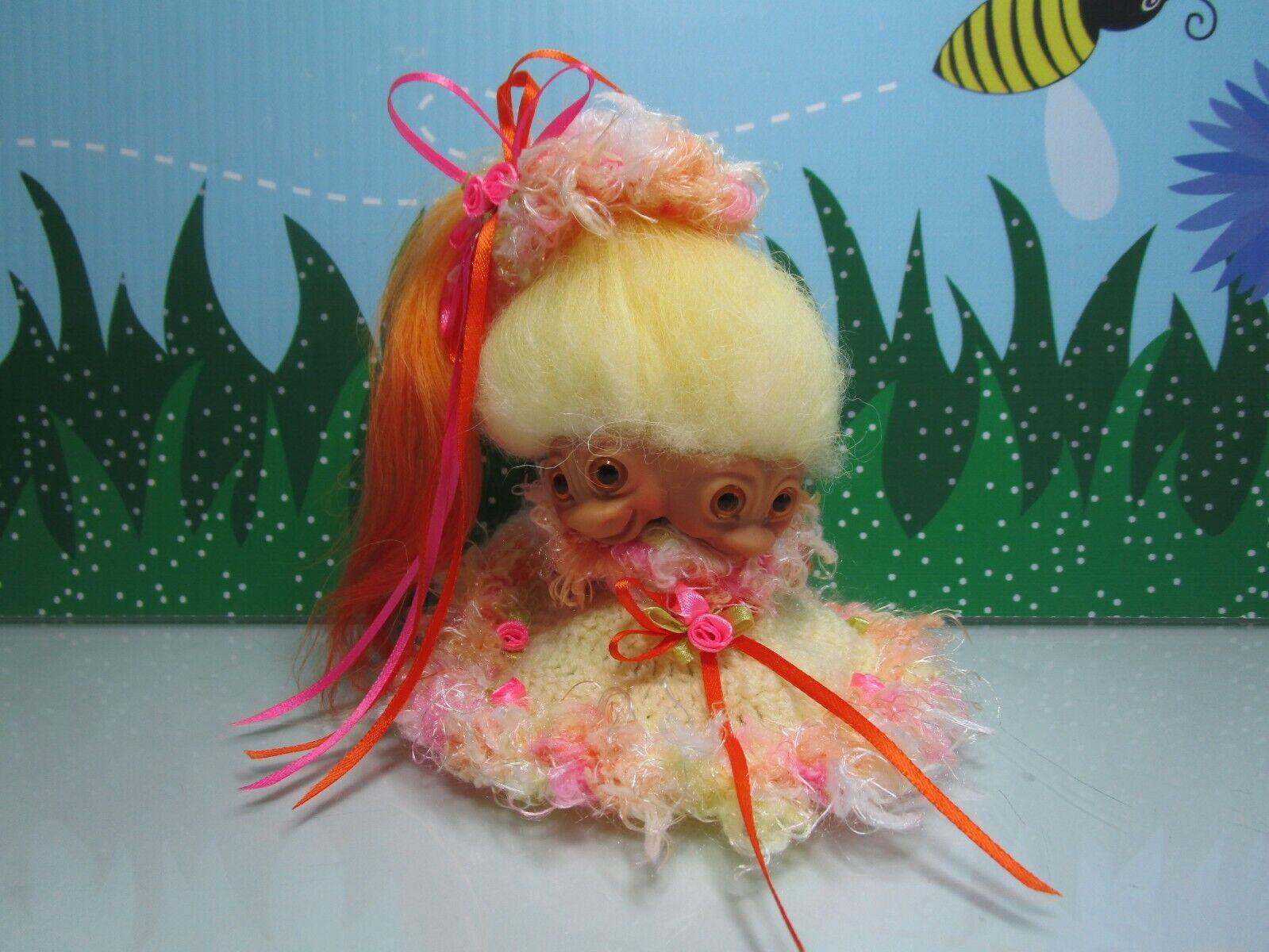 1965 2 HEADED GIRL TROLL - 3  WISHNIK UNEEDA Troll Doll - RARE-  w NEW EYES HAIR