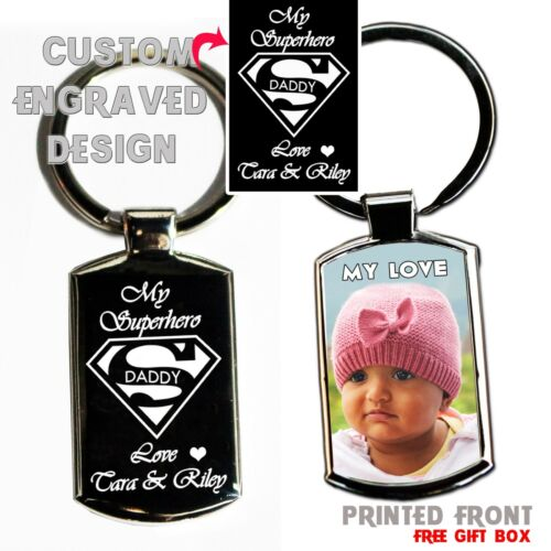 Custom made Fathers Day Metal Keyring Photo Printed// text Engraving Free Giftbox