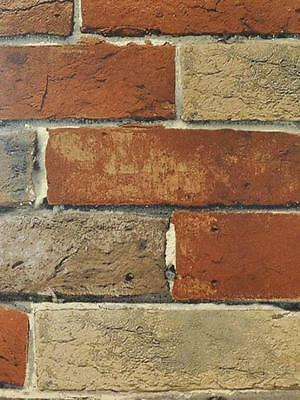 Terra Cotta Putty Grey and Brown Extremely Detailed Brick Wallpaper BG21584