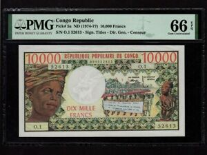 Congo:P-5a,10000 Francs,1974-77 * Woman * PMG Gem UNC 66 EPQ *