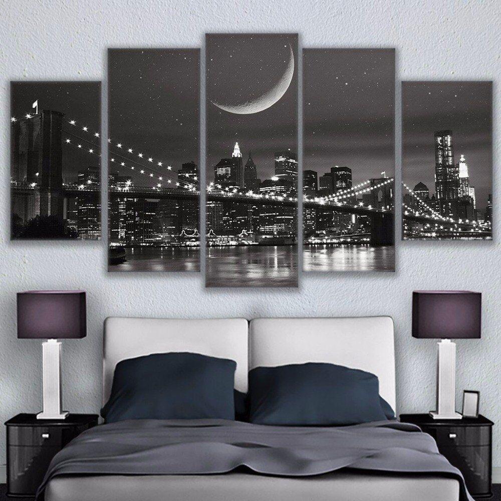 Brooklyn Bridge Night Moon 5 Piece Canvas Print Wall Art