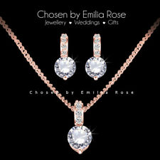 cbea9e00ab7 18k Rose Gold Bridal Bridesmaid Necklace Earrings Jewellery Set Wedding  Jewelry