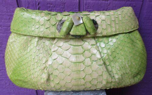 NANCY GONZALEZ Python Skin Clutch Handbag Purse Li