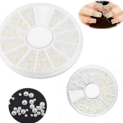 New 3D Nail Art Tips Pearl Acrylic Gem Glitter Manicure DIY Decoration F5