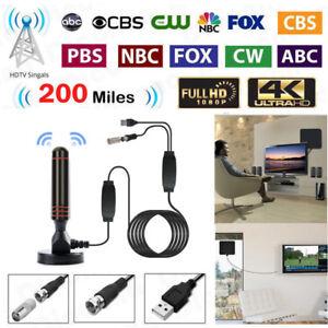 4K 1080P Indoor Digital TV Antenna Amplifier 200 Miles Range HD