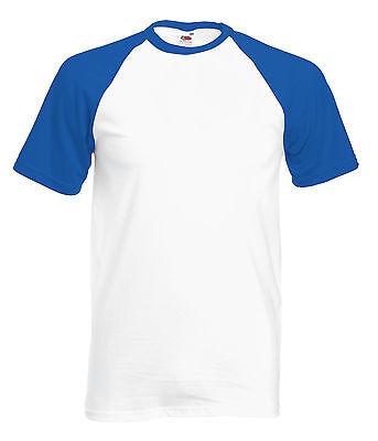 100% Vero Tee-shirt Base Ball Fruit Of The Loom Blanc/royal Blue 100% Coton - Sc61026 Alleviare Il Caldo E Il Colpo Di Sole