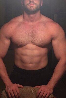 Shirtless Muscular Beefcake Male Hairy Chest Abs Beard Man