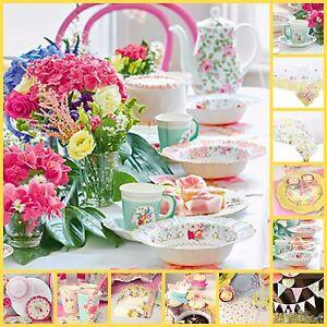 TRULY SCRUMPTIOUS FLORAL VINTAGE TEA PARTY DECORATIONS PLATES CUPS ...