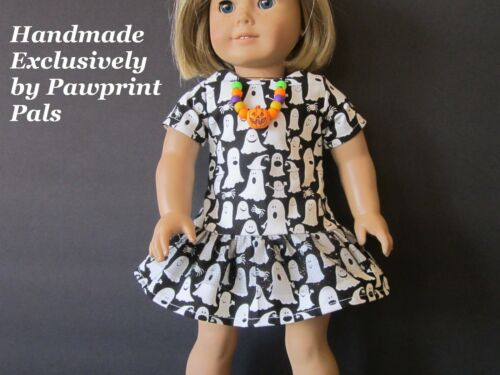 GLOWINTHEDARK Halloween GHOST DRESS & NECKLACE fits American Girl Handmade