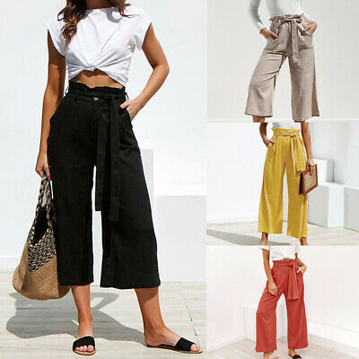 Women/'s Paperbag High Waist Pants Wide Leg Belted Culottes Loose Casual Trousers