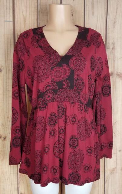 SONOMA Womens Shirt Size L Long Sleeve V-Neck Cotton/Modal Floral Top A18