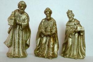 3-Wise-Men-Nativity-Set-Metallic-Gold-Ceramic-Figures-three-wisemen-Bethlehem