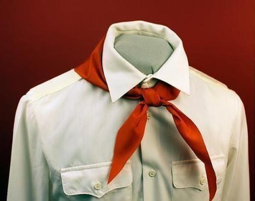 Tag Soviet YOUNG PIONEER RED TIE Neckerchief GALSTUK Communist Youth Scout ORIG