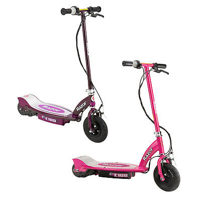 Razor E100 Motorized Rechargeable Kids Toy Electric Scooters, 1 Pink & 1 Purple