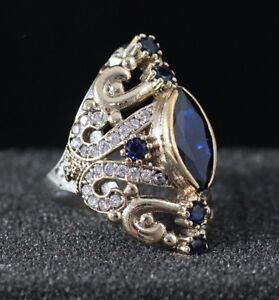 925-Sterling-Silver-Handmade-Antique-Turkish-Sapphire-Ladies-Ring-Size-6-12