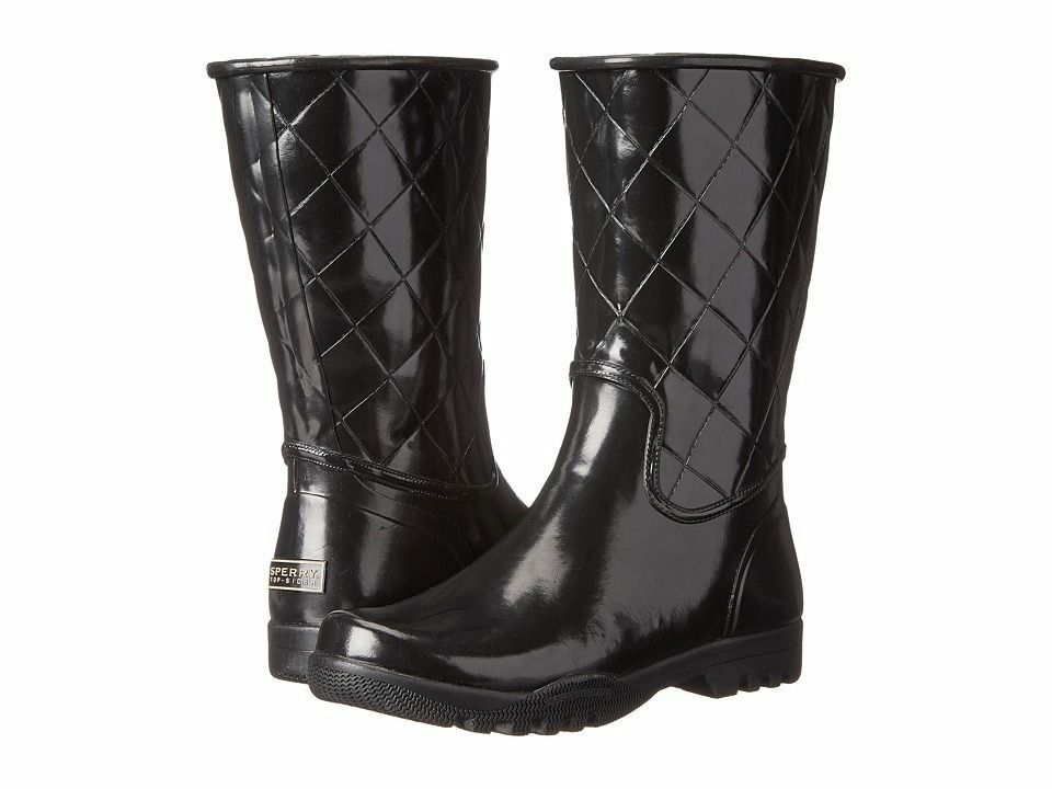 SPERRY TOPSIDER 'Nellie',    Women's Black Quilted Rain Boots,  SZ 12 3eb62b