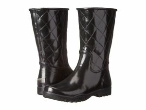 Nellie' Black Quilted Rain Boots size