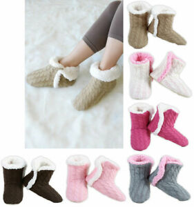 Women/'s Cable Knit Booties House Slippers w// Sherpa Fleece Lining Non-Slip Soles