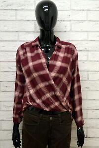 Camicia-HOLLISTER-Donna-Taglia-S-Maglia-Blusa-Shirt-Woman-Manica-Lunga-a-Quadri
