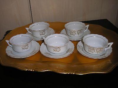 Vintage Doll House Porcellana Tè Set (5 Tazze E Piattini).-mostra Il Titolo Originale Prestazioni Superiori