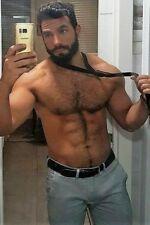Shirtless Male Muscular Beefcake Hairy Chest Body Beard Bear Guy PHOTO 4X6 F1636