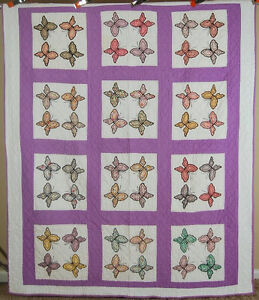 WELL QUILTED 30's Butterfly Applique Antique Quilt ~BEAUTIFUL ... : butterfly applique quilt - Adamdwight.com