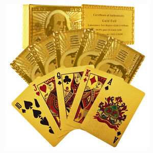 Certified-Pure-24-Carat-Gold-Foil-Poker-Cards-w-52-Cards-amp-2-Jokers